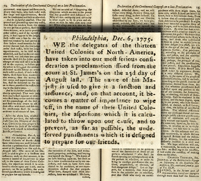 American colonies react to King George's response to Bunker Hill