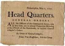 Scarce Revolutionary War Broadside