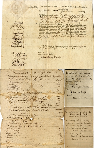 Revolutionary War Sword, Commission & Fort Ticonderoga Casualty List