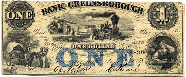 Bank of Greensborough With Slave Peddlers Vignette-Civil War Souvenir Presentation On Verso.