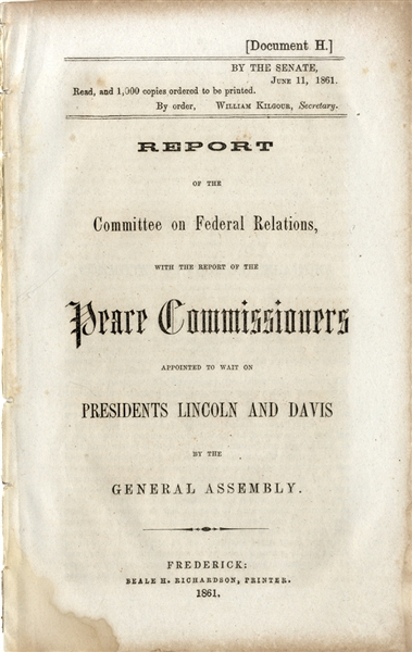 1861 Peace Commission - Lincoln Refuses Davis' Commissioners