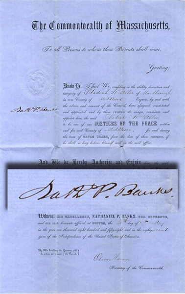 1858 Gen. Nathaniel Banks Document as Governor