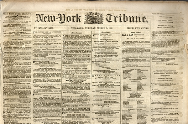 Lot of 73 issues of NY Tribune from Jan.-June 1861