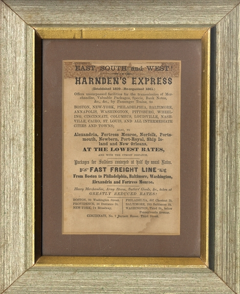 Rare Printed Harden Express Advertising Broadside…Packages For Soldiers Conveyed At Half The Usual Rates.
