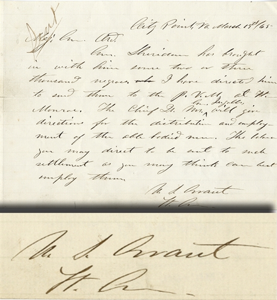 "Grant Historically Important Military Autograph Letter Signed in Preparation for the final assualt on Petersburg. .... "" Sheridan has brought in with him some two or three thousand negroes...."""