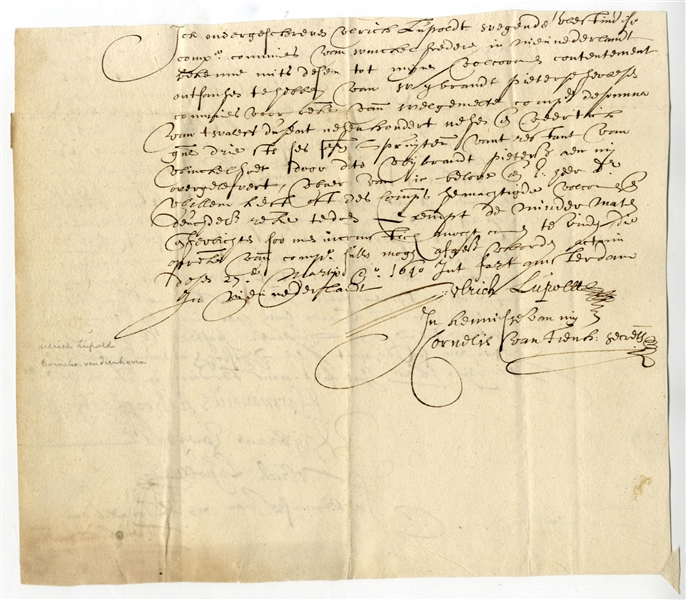 Two Extremely Early New York City Documents, Signed In 1640 At Fort Amsterdam At The Tip Of Manhattan Island. Both Concern The West India Company, The Corporation That Founded What Became New York...