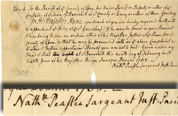 Massachusetts Bay Arrest Warrant 1768 Issued By Noted Jurist