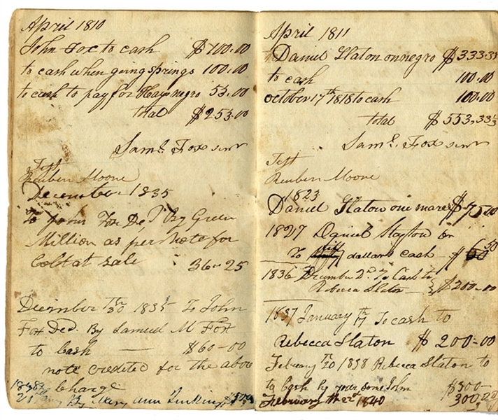 Rare Slave Plantation Ledger Recording 35 Years of Slave Sales