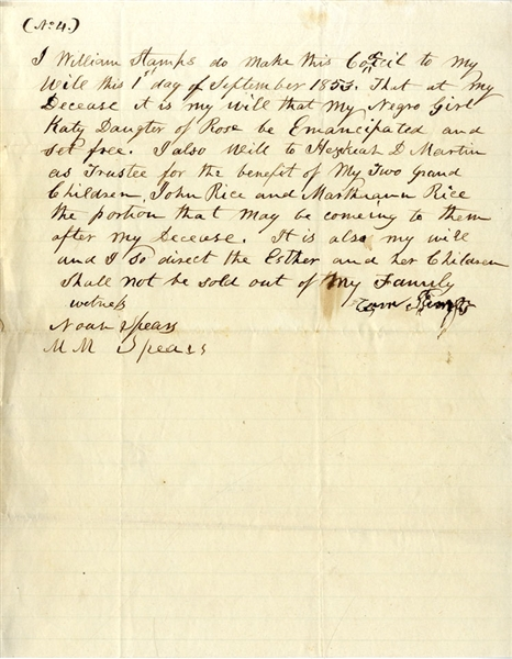 Slave Emancipation Document