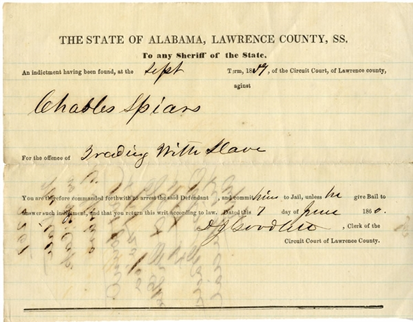 Alabama Arrest Warrant For Trading With Slave.