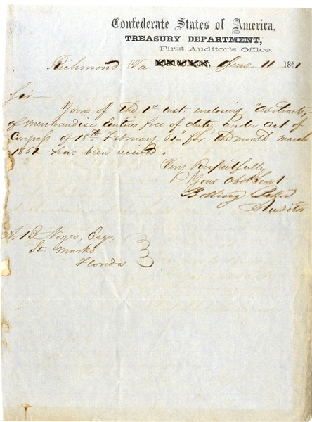 Letter Signed on Treasury Department Letterhead