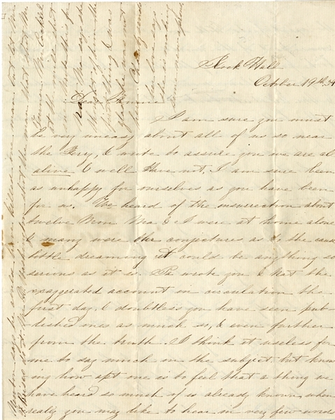 Fine Letter Pertaining to the John Brown Rebellion