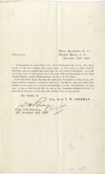 General Sherman Orders Pertaining to Contraband Labor