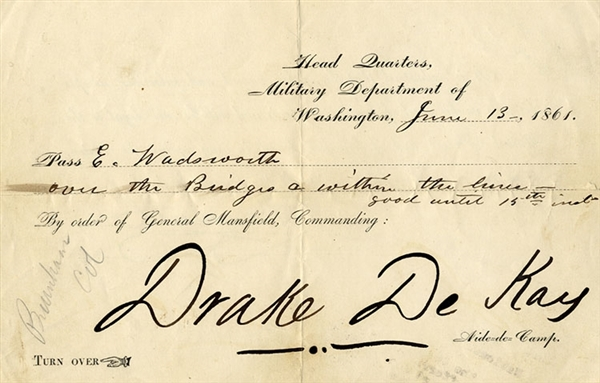 Union Pass Largely Signed by Drake De Kay