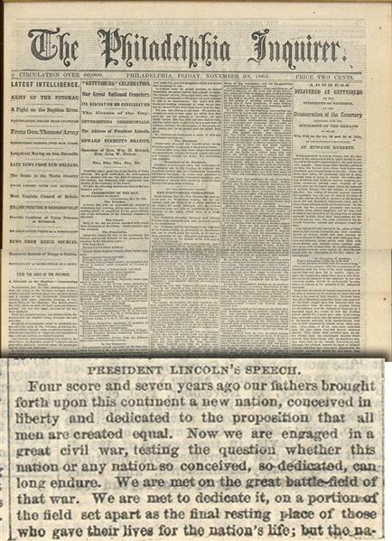 The FIRST PRINTING of the Gettysburg Address