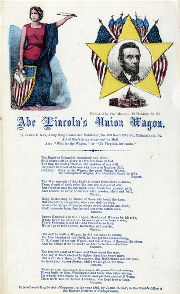 Abe Lincoln's Union Wagon 1864 Presidential Campaign Song Sheet