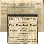 "This Lincoln Shooting Newspaper Was Printed  Before The Death Announcement ... ""We go to press without knowing the exact truth..."""