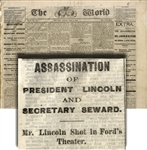 Newspaper Reports President Lincoln Dead in Their 9:00 Extra Issue.