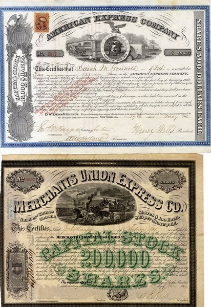 Henry Wells Signed American Express Stock and a Merchants Union Express Certificate Issued to J.N. Knapp