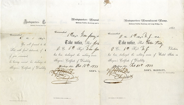 Rare Collection of Jewish Printer's Civil War Hospital Convalescent Camp Forms