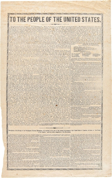 Broadside Announcement From The  Washington National Monument Society