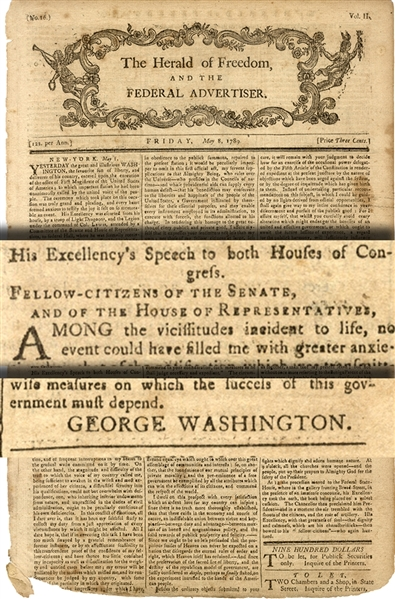Complete Printing Of George Washington's First Inauguration Speech