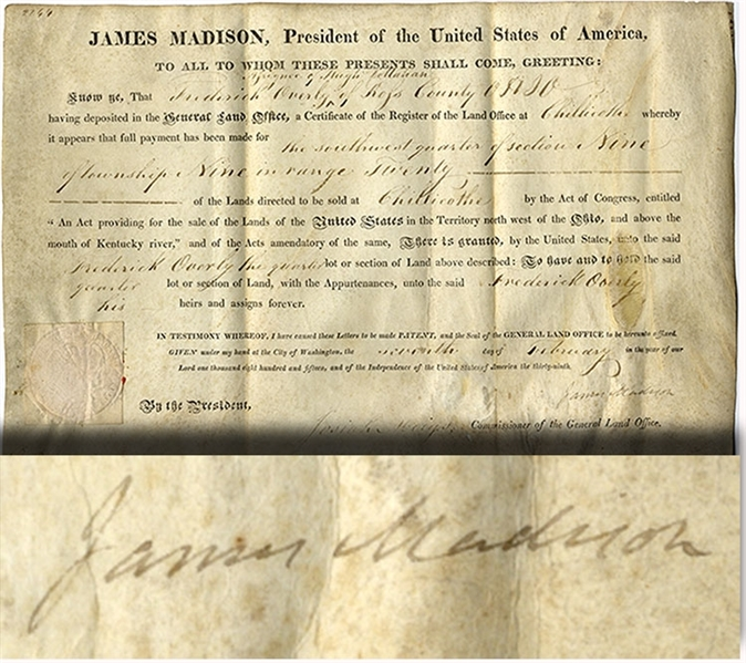 Nice Clean James Madison Document Signed As President