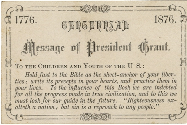 President Grant Offers 1876 Centennial Message