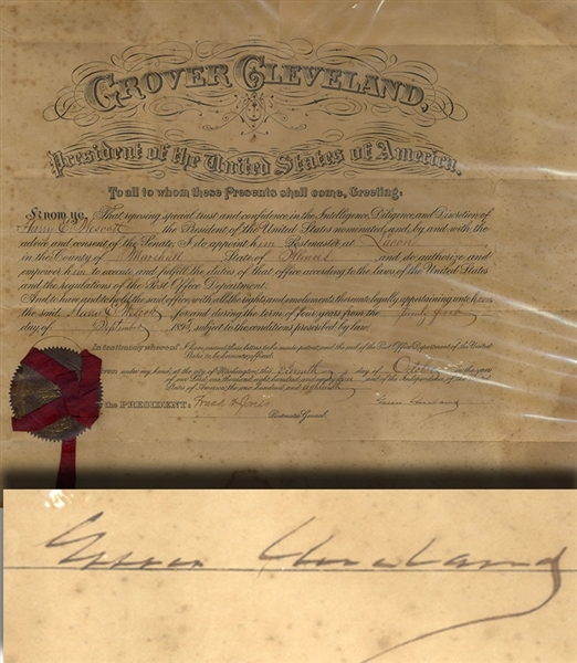 Grover Cleveland Signed Document