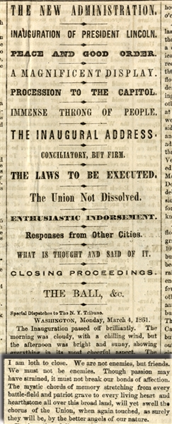 Lincoln's 1st inauguration Speech