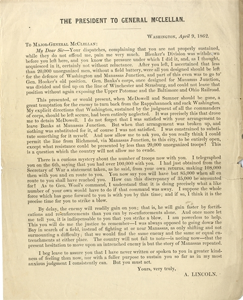 A Printing of the Lincoln April 9th, 1862 Telegram to McClellan