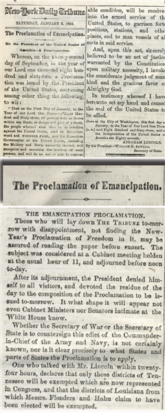Full printing of the Emancipation Proclamation