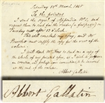 Albert Gallatin Autograph Note Signed