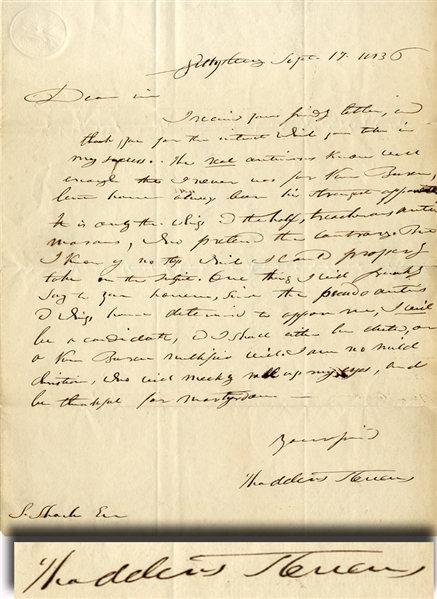 Good Content Thaddeus Stevens Letter Mention Anti-Masons and Van Buren