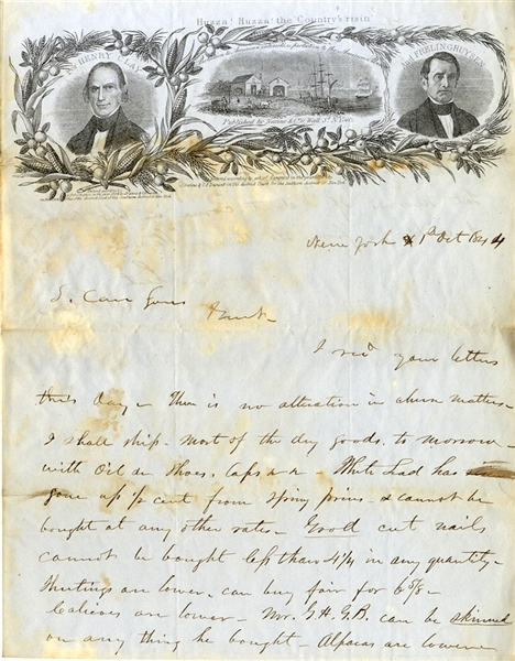 Rare 1844 Presidential Campaign Stationery: Henry Clay and Frelinghuysen.