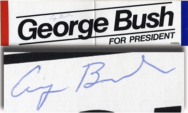 President George Bush Signed Campaign Bumper Sticker
