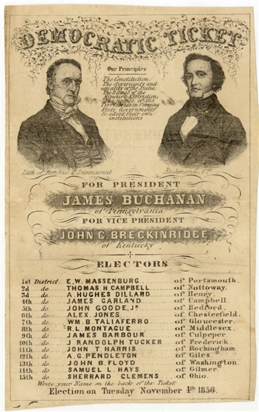 Buchanan And Breckinridge 1856 Portrait Campaign Ballot From Virginia