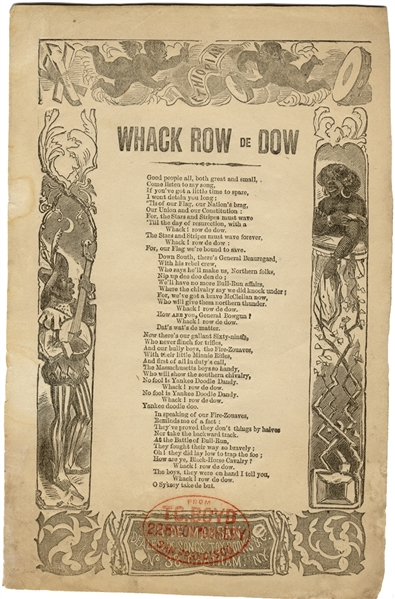 Racist Penny Song Sheet Whack de Row Broadside