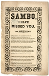 "Racist Penny Song Sheet ""Sambo I Have Missed You"" Broadside"
