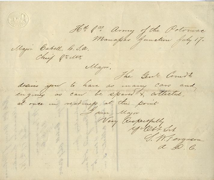Instructions from General Beauregard to Have Rail Road Cars at the First Battle of Manassas