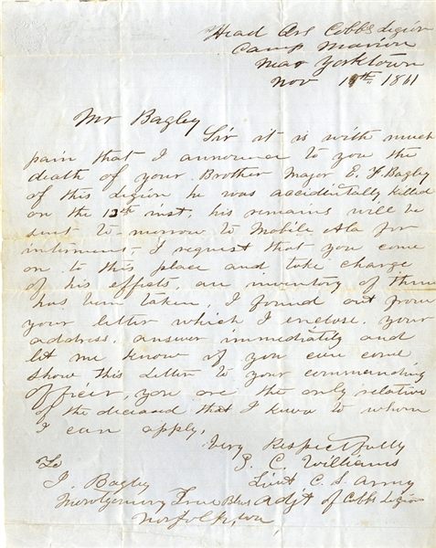 Cobb's Legion Officer Writes to the Brother of a Dead Officer