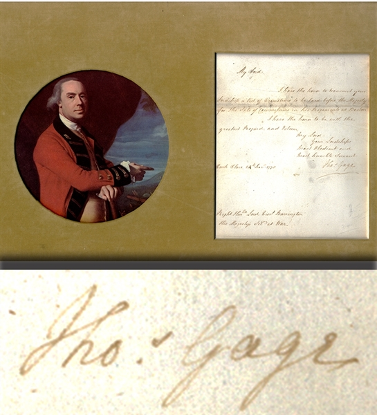 Important Document Signed by General Thomas Gage Pertaining to the Commission of Officers in the King's Army at Boston in 1775