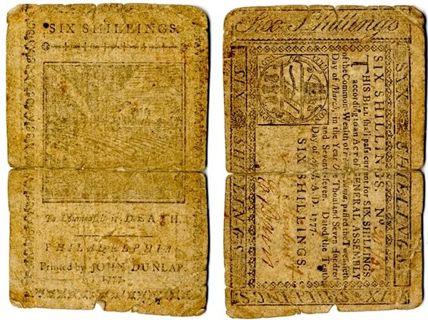Colonial Currency: 1777 six shilling Pennsylvania note.