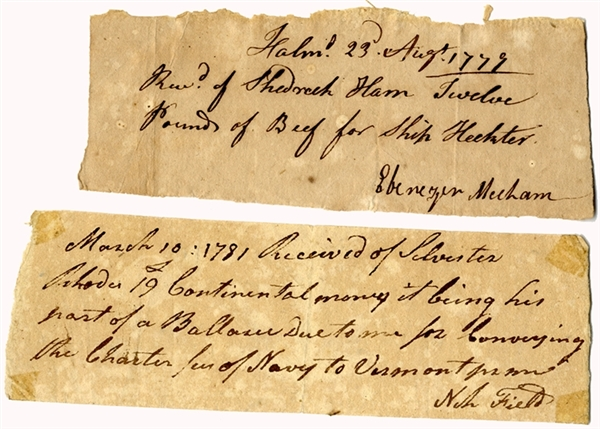 A Pair of Colonial Receipts