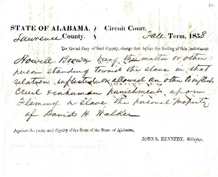 "Court Finds He ""inflicted cruel & inhumane punishment upon Fleming a slave ..."""