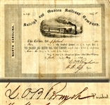 Rail Road Stock Signed by Lawrence o'Bryan Branch