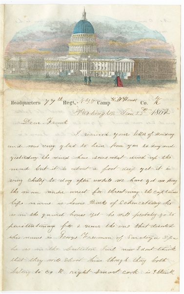 Beautiful Hand-colored Capitol Stationery; Letter Mentions a Deserter