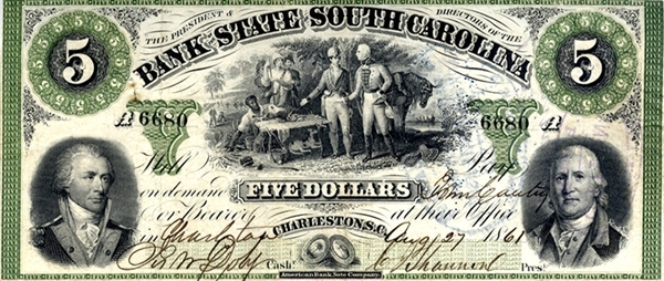 1861 South Carolina Five Dollar Bill.