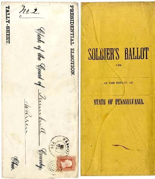 Two 1864 Lincoln-McClellan Presidential Campaign Soldier's Ballot covers