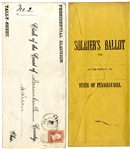 "Two 1864 Lincoln-McClellan Presidential Campaign ""Soldiers Ballot"" covers"